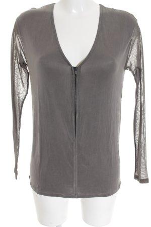 René Lezard V-Ausschnitt-Shirt grau Biker-Look