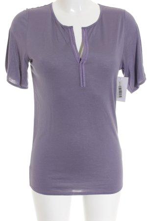 René Lezard V-Ausschnitt-Shirt graulila klassischer Stil