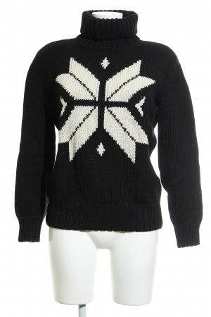 René Lezard Christmasjumper black-natural white star pattern casual look