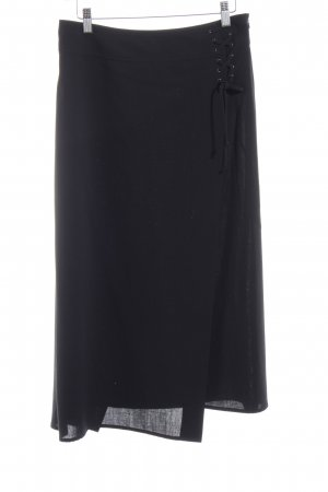 René Lezard Wraparound Skirt black elegant