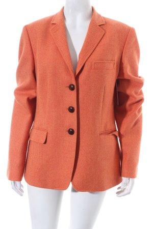 René Lezard Woll-Blazer orange Fischgrätmuster Vintage-Look