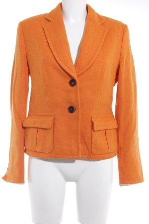René Lezard Woll-Blazer orange meliert extravaganter Stil