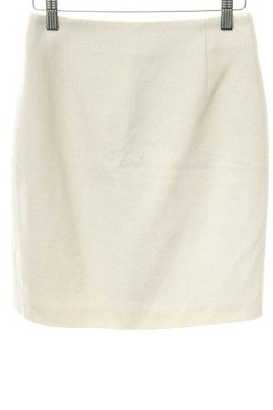 René Lezard Wool Skirt cream herringbone pattern casual look