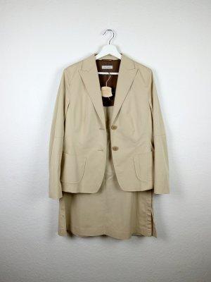 rené lezard zweiteiler kostüm blazer rock L 42 beige creme business basic casual look fashion blogger