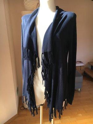 Repeat Cardigan mit Fransen dunkelblau