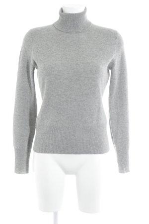 Repeat Cashmere Pull-over à col roulé gris clair moucheté style classique