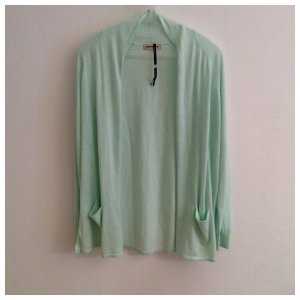 Repeat Cashmere Chaleco de punto largo verde claro tejido mezclado