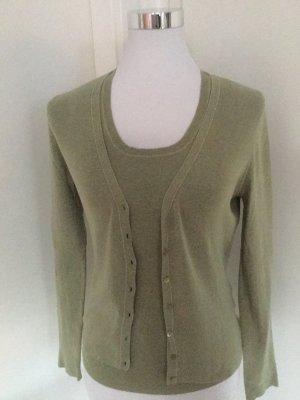 Repeat moosgrünes Twin Set aus Baumwolle in Größe S