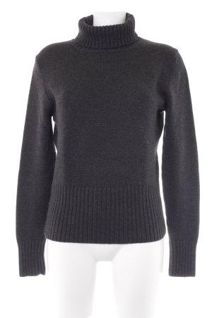 Repeat Jersey de cuello alto gris oscuro Patrón de tejido estilo clásico