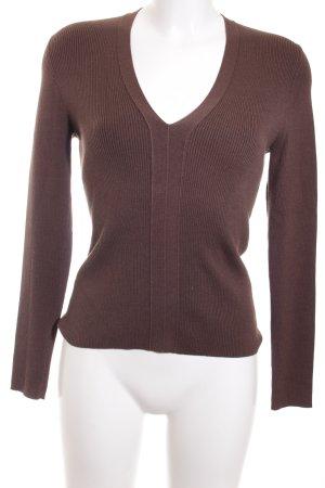 Repeat V-Ausschnitt-Pullover graubraun Casual-Look