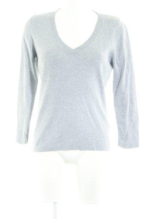 Repeat V-Ausschnitt-Pullover hellgrau meliert Casual-Look