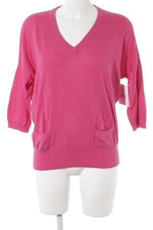 Repeat V-Ausschnitt-Pullover magenta Casual-Look