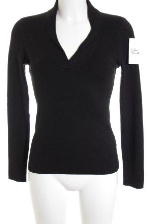 Repeat V-Ausschnitt-Pullover schwarz schlichter Stil