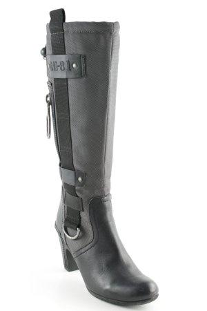 Replay Absatz Stiefel schwarz-grau Military-Look