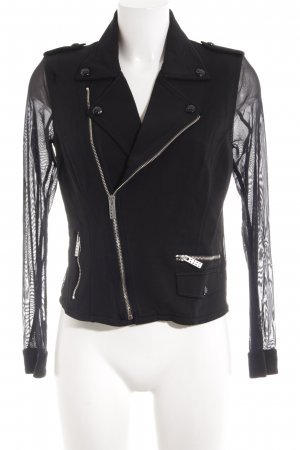 Replay Biker Jacket black material mix look