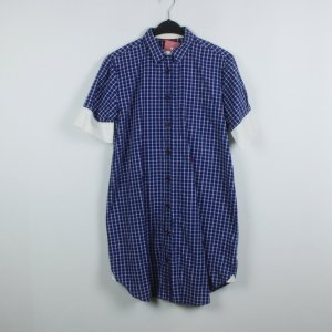 Replay Abito blusa camicia blu-bianco Cotone