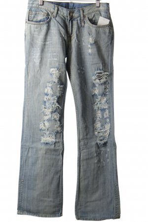 Replay Boot Cut Jeans hellblau Destroy-Optik
