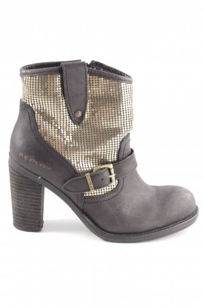 Replay Booties braun-goldfarben grafisches Muster Casual-Look
