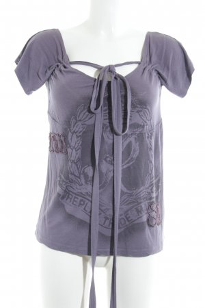 Replay Carmen Shirt grey lilac themed print casual look