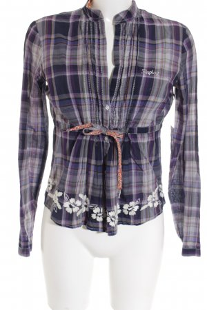 Replay Empire Waist Shirt grey violet-lilac flower pattern Rhinestone ornaments
