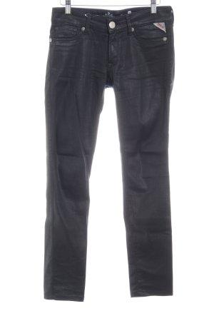 Replay Pantalone cinque tasche nero effetto bagnato