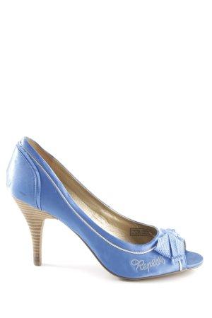 Replay High Heels blau Schriftzug gestickt Casual-Look