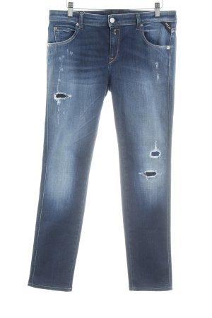 Replay Jeans taille haute bleu foncé style décontracté
