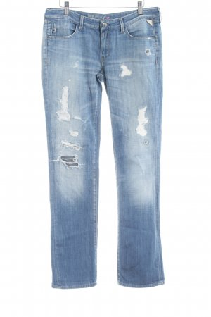 Replay Low Rise Jeans azure distressed style