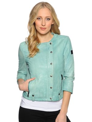 Replay Jacke Lederjacke in Mintgrün Damen Biker