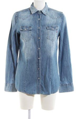 Replay Jeansbluse blau Farbverlauf Casual-Look