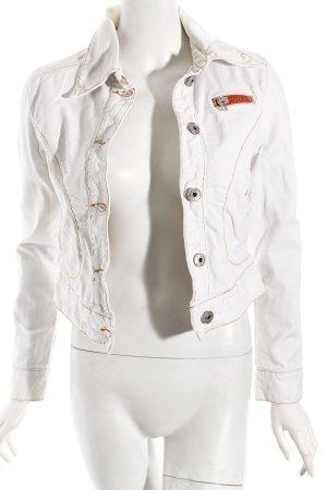Replay Jeansjacke orange-weiß sportlicher Stil