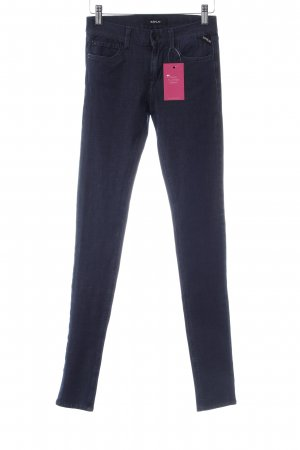 Replay Jeggings blau Logo-Applikation aus Leder
