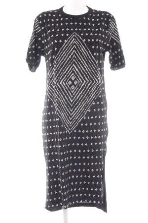 Replay Vestido de tela de jersey negro-blanco Mezcla de patrones look casual