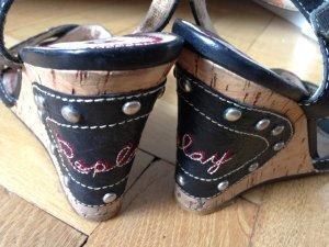* Replay * Keilabsatz Sandaletten - schwarz mit Nieten-