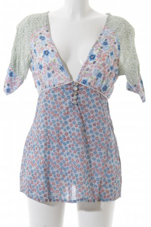Replay Kurzarm-Bluse florales Muster Casual-Look