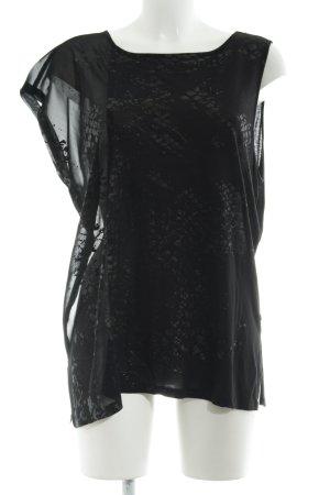 Replay Kurzarm-Bluse schwarz Farbtupfermuster Elegant
