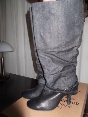 REPLAY Leder/Jeans Stiefeln – Schwarz Gr. 39