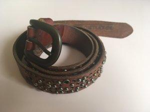 Replay Leder- Nietengürtel dunkelrot