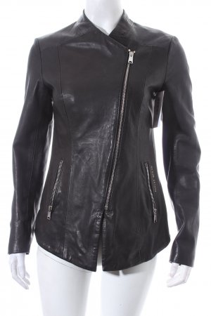 Replay Lederjacke schwarz Biker-Look