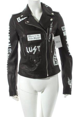 Replay Lederjacke schwarz-weiß Schriftzug gedruckt Biker-Look