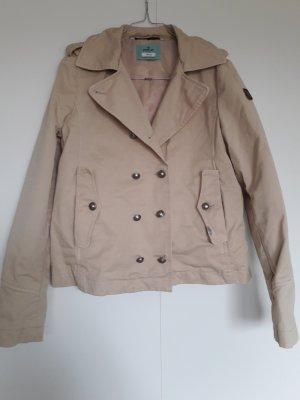 Replay leichte Jacke Cabanjacke Übergangsjacke Trenchcoat-Stil beige kurz A-Linie Baumwolle Gr. S
