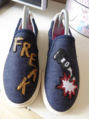 REPLAY Loafers mit Pailetten / Jeansoptik