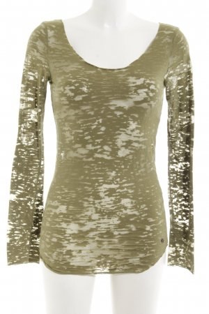 Replay Longsleeve olivgrün Camouflagemuster Transparenz-Optik