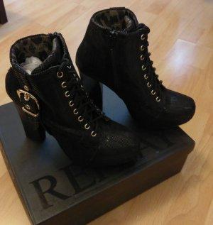 Replay neu stiefel stiefeletten boots schwarz silber limited edition