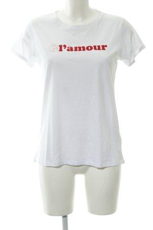 Replay Print-Shirt weiß-dunkelrot Schriftzug gedruckt Casual-Look