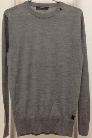 Replay Jersey de cuello redondo gris claro-color plata lana merina