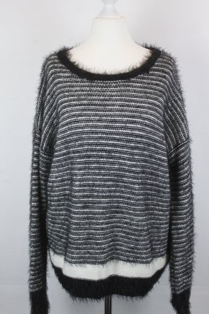 REPLAY Pullover Strickpullover Gr. M schwarz weiß gestreift (18/2/431)