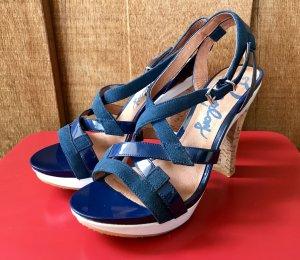Replay Riemchen-Sandaletten blau/weiß Korkabsatz