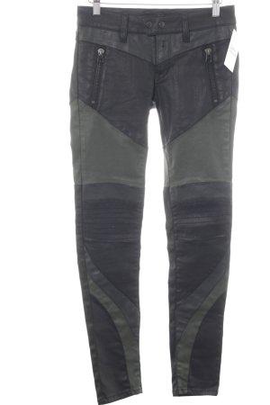 Replay Röhrenhose schwarz-khaki Biker-Look