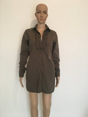 Replay Rüschen Bordüre Tunika Bluse Longtop Long lang Top Oberteil Hemd Minikleid Oliv Khaki grün Army Military xs